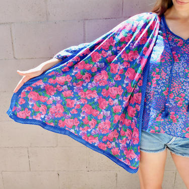 Floral Sash Blouse // vintage 80s 1980s boho hippy dress top shirt hippie high fashion Diane Freis style // O/S by FenixVintage