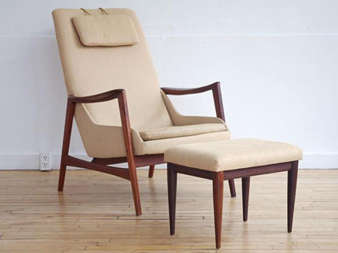 Folke Olhsson for Dux Teak Lounge Chair w. Ottoman