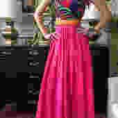 Geoffrey Beene Pink Silk Jersey Dress with Black Floral Front Zip Bodice by StrangelovelyVintage