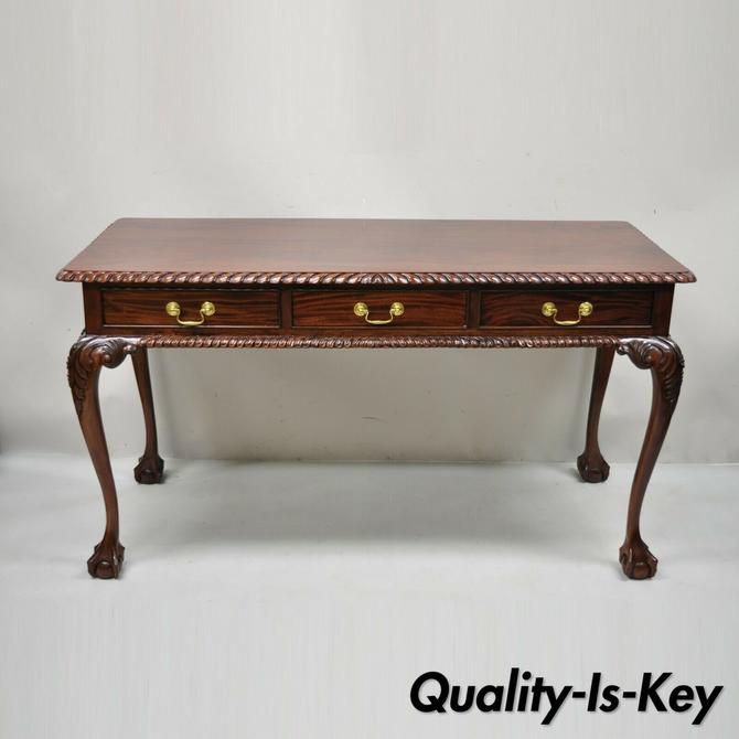 Chippendale Mahogany 3 Drawer Ball & Claw Rope Carved Console Sofa Hall Table