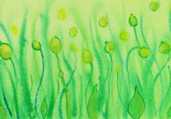 Dictyostelium 5 - original watercolor painting - slime mold by artologica