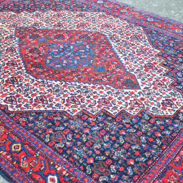 """Vintage Hand Knotted Persian Tribal Style Area Rug in Red and Navy with Center Medallion  -  3' 11"""" x  5' 5"""" by SourcedModern"""