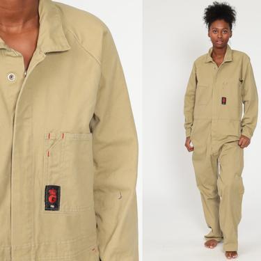 Tan Coveralls Jumpsuit Pants Workwear Uniform Outfit 80s One Piece Long Sleeve Work Wear Boiler Suit Vintage Pantsuit 1980s Men's Medium by ShopExile