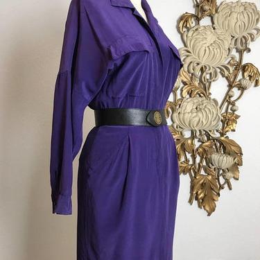 1980s dress silk dress purple dress size medium ellen tracy vintage dress office dress secretary dress long sleeve dress with pockets by melsvanity