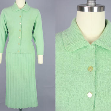 1940s SEAFOAM Green Knit Set | Vintage 40s 50s Sweater & Skirt | small / medium by RelicVintageSF
