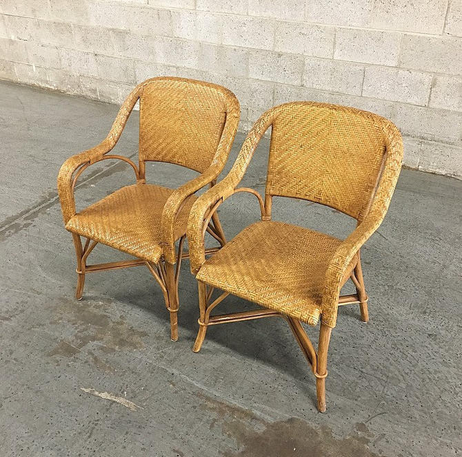LOCAL PICKUP ONLY ------------- Vintage Rattan + Straw Chairs by RetrospectVintage215