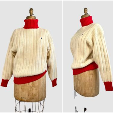 RALPH LAUREN Vintage 90s Pullover Sweater | 1990s Chunky Cable Knit Ribbed Turtleneck | 2000s Designer Ski Polo Turtle Neck | Size Medium by lovestreetsf