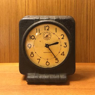 1943 Westclox WarAlarm Molded Wood Fiber Alarm Clock, OPA Price Control, Working Well by Deco2Go