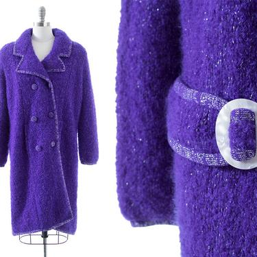 Vintage 1960s Sweater Coat   60s Chunky Knit Royal Purple Wool Metallic Silver Lurex Double Breasted Winter Jacket (medium/large/x-large) by BirthdayLifeVintage