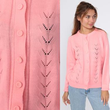 70s Pointelle Sweater Pink Cardigan Sweater Raglan Grandma Open Weave Sheer Pink Pastel Sweater Vintage Acrylic Knit 80s Medium Large by ShopExile