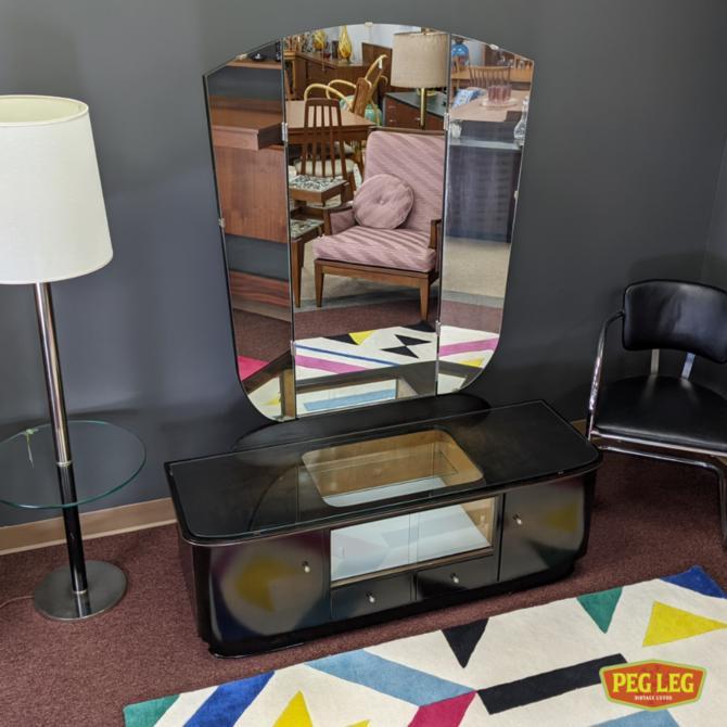 Art Deco maple vanity with tri-fold mirror