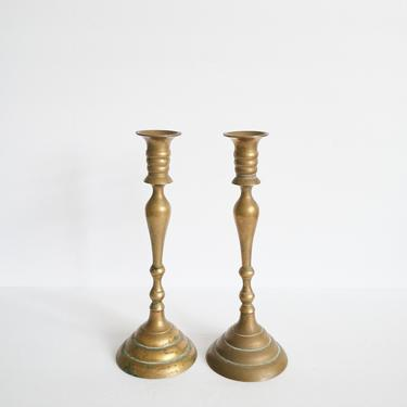 Set of Two Vintage Brass Taper Candlestick Holders by ShopLantanaLane