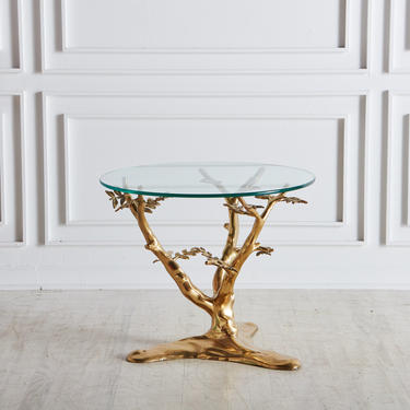 Brass Tree Side Table by Willy Daro, Belgium 1970s