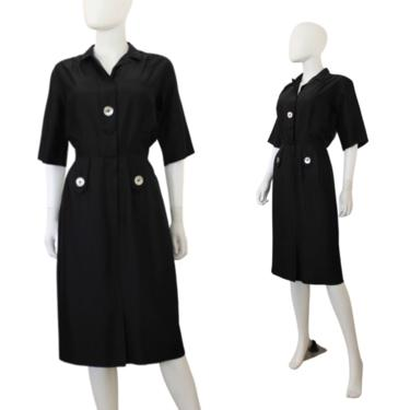 1950s Black Wiggle Dress - 1950s Black Day Dress - 1950s Black Shirtwaist Dress - 1950s Black Dress - Vintage LBD | Size Small / Medium by VeraciousVintageCo