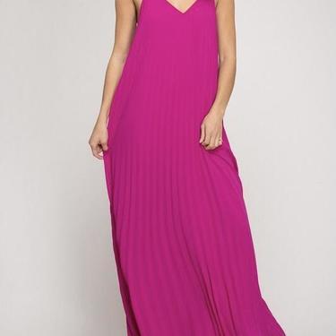 Magenta Accordian pleated maxi dress