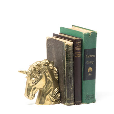 Vintage Brass Unicorn Bookend by GreenSpruceDesigns