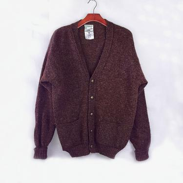 Maroon Wool Button Up Cardigan