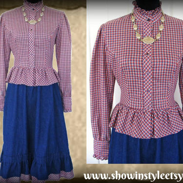Tem Tex Vintage Western Women's Cowgirl Two Piece Set, Denim and Plaid Prairie Style Skirt & Peplum Shirt, Approx. Small (see meas.) by ShowinStyle