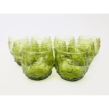 Mid Century Bumpy Green Roly Poly Tumblers / Set of 9 / Lido Milano Anchor Hocking by SergeantSailor