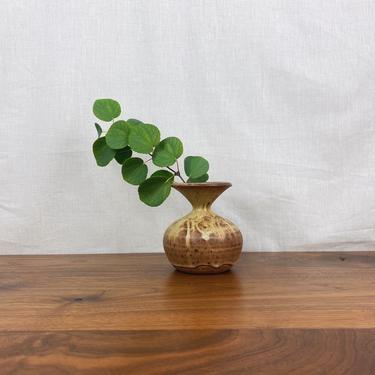 Vintage Handmade MCM Round Stoneware Wide Lip Vase • Signed by SonjloStudio