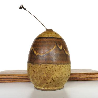 Vintage Signed Studio Pottery Vase Weed Pot, Mid Century Modern Speckled Stoneware Capsule Vase by HerVintageCrush