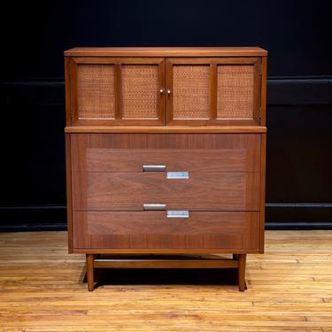 Mid Century Modern American of Martinsville Five Drawer Walnut Highboy Dresser Chest of Drawers by Merton Gershun by MidMod414