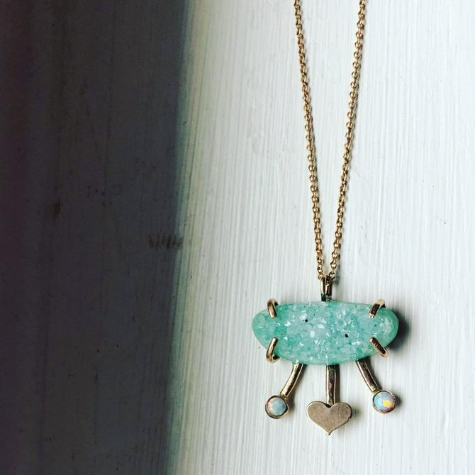 Pale Green Druzy Pendant with opals and heart handmade one of a kind abstract pendant by RachelPfefferDesigns