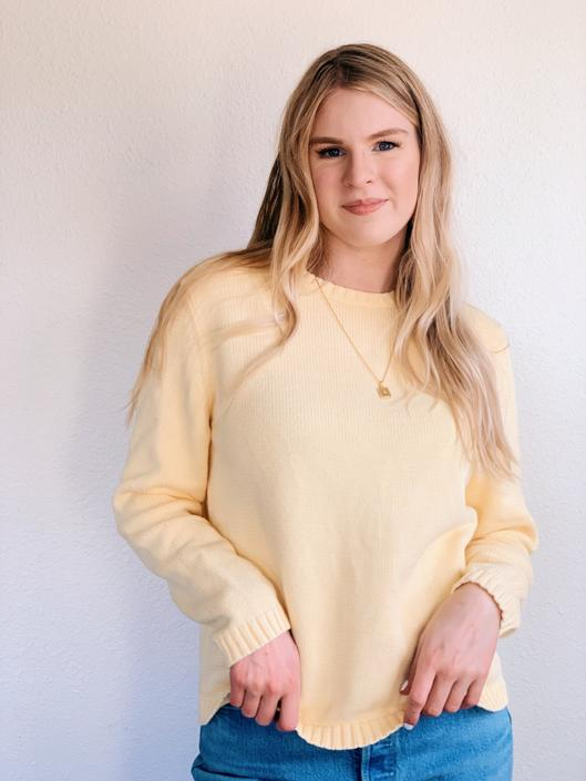 Eddie Bauer Pastel Yellow Knit Sweater by MadroneClothing