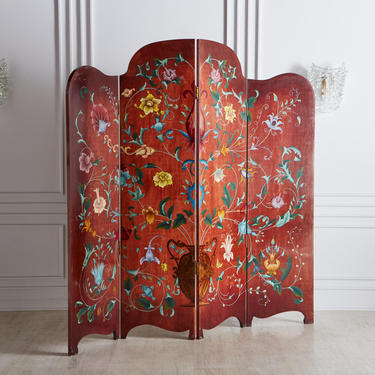 Red Hand Painted Floral Room Divider