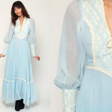 Gunne Sax Dress 70s Maxi Boho LACE Prairie Pastel Baby Blue 1970s Corset Lace Up Boho Hippie Bohemian Wedding Tiered Long Extra small xs by ShopExile