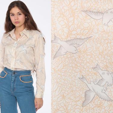 70s Bird Blouse Boho Shirt Bohemian Top Swallow Shirt Novelty Print Button Up 1970s Hippie Long Sleeve Vintage Medium by ShopExile