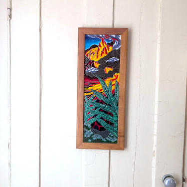 Vintage Ceramic Tile Triptych of Hawaiian Volcano Landscape Scene Framed by Moon Road Pottery and Tile Hilo Hawaii by retrowarehouse