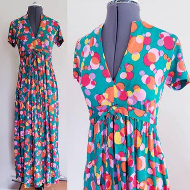 1970s Colorful Maxi Dress Circle Polka Dot Print Chuck Howard / Short Sleeved Multicolored Dress Bubbles Floating Spheres Empire Waist Magda by RareJuleVintage