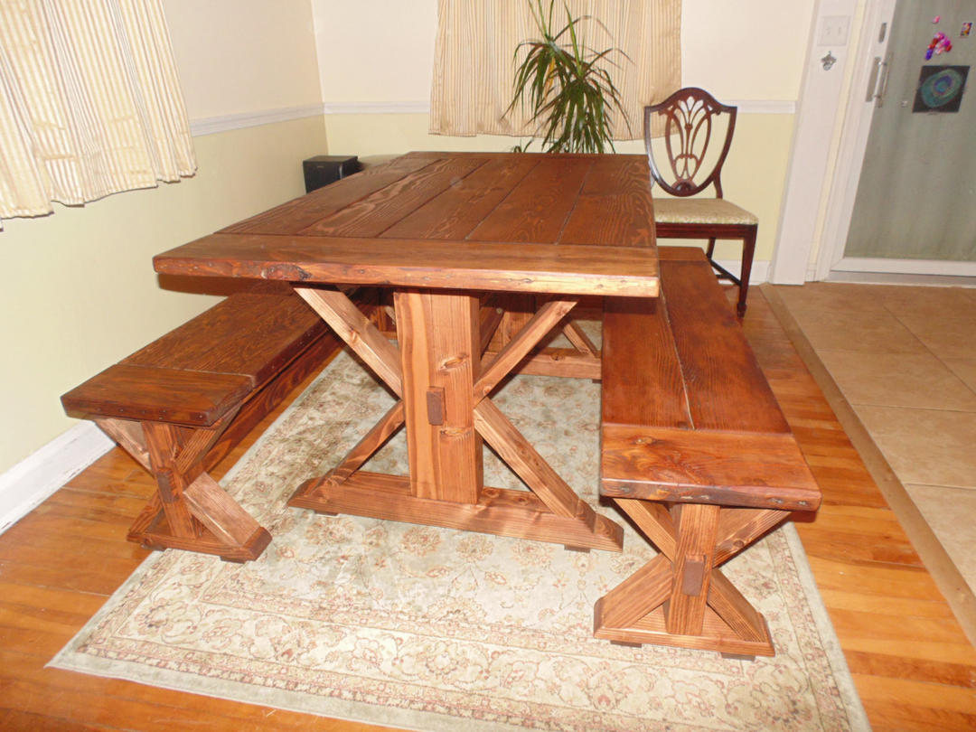 Kent dining table trestle x farmhouse reclaimed wood for Unique wood kitchen tables