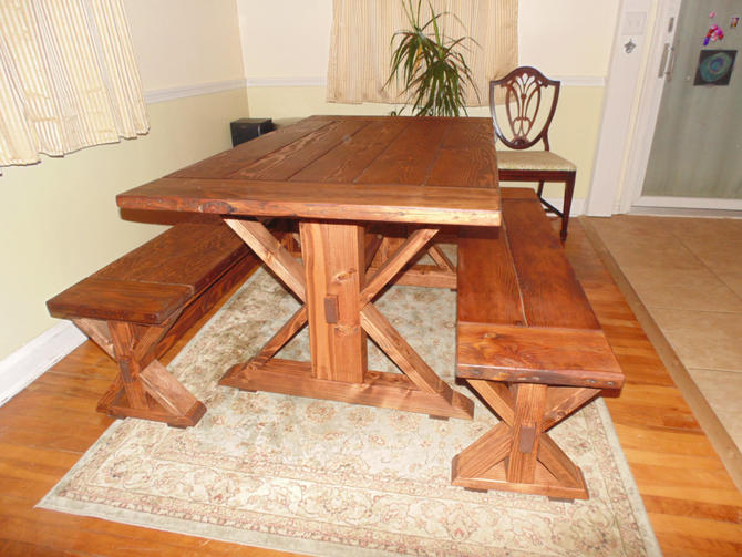 Kent dining table trestle x farmhouse reclaimed wood for Reclaimed wood sources