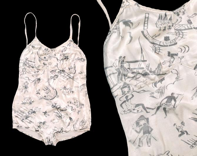 RARE 1930s Swimsuit / Late 30s Early 40s NOVELTY PRINT Figural Beach Party Bathing Suit by GuermantesVintage