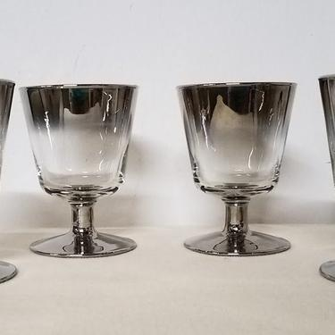 Vintage Vitreon Queen's Lustreware Silver Ombre Footed Lowball Glasses Set of Four by OverTheYearsFinds
