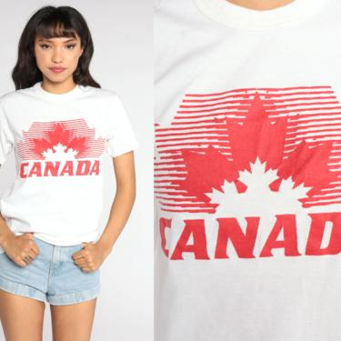 Vintage Canada Shirt BURNOUT T Shirt Graphic Print 80s Travel Tee 1980s White Single Stitch Shirt Small S by ShopExile