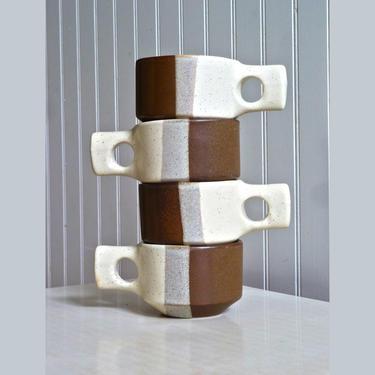 Fabrik Agate Pass Vintage Ceramic Mugs Set of Four by Jim McBride - Square Handled Mugs - One Finger Mug - Studio Pottery - Seattle by FlyTimesVintage