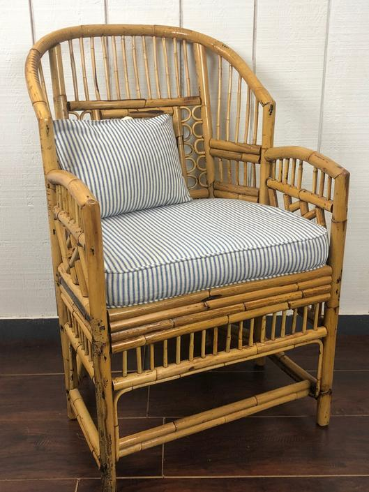 Vintage Brighton Pavilion Style Chinoiserie Chippendale Bamboo Armchair by RustandRefind