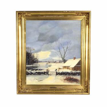 19th Dutch Oil Painting Winter Landscape w Lone Black Bird sgd Alexander Schmidt by PrairielandArt