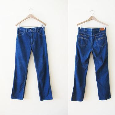 Vintage 70s Levis 29 30 - Levis Movin On Jeans - Straight Leg Levis - High Waist Levis - Dark Wash Levis - Boyfriend Jeans by MILKTEETHS