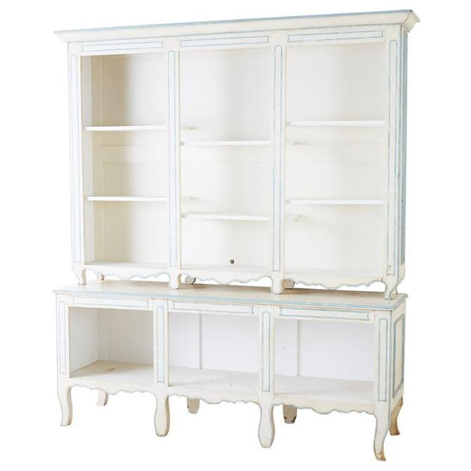 French Provincial Style Painted Open Shelf Cabinet Bookcase by ErinLaneEstate