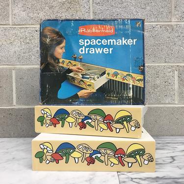 Vintage Spacemaker Drawer Retro 1970s Rubbermaid + Mushroom Print + Set of 2 Drawers + Storage + Organization + Home and Kitchen Decor by RetrospectVintage215