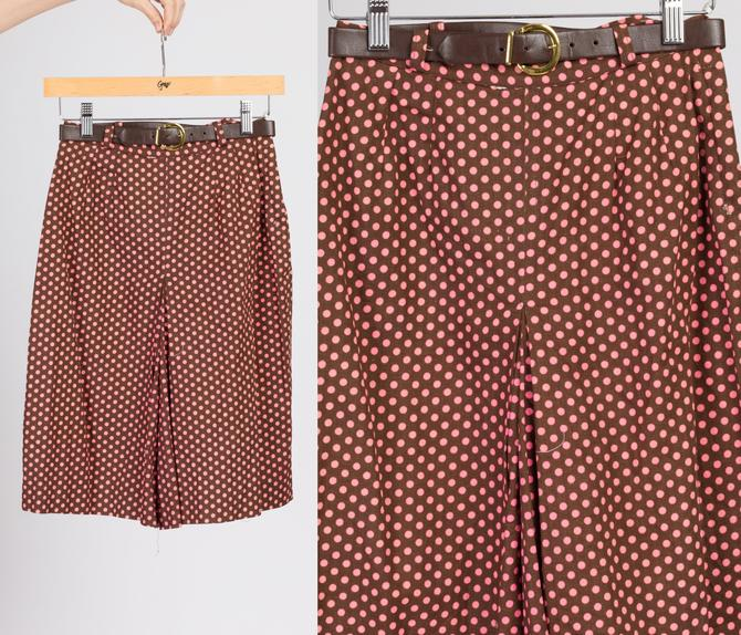 60s Brown & Pink Polka Dot Mod Shorts - Extra Small | Vintage High Waisted Belted Wide Leg Shorts by FlyingAppleVintage