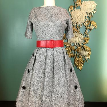 early 1960s dress, 1950s dress, black and white fleck, full skirt dress, mrs maisel, buttons details, Howard wolf, 27 waist, rockabilly by BlackLabelVintageWA