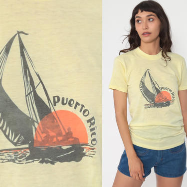 Puerto Rico Shirt 80s Graphic Tee Retro T Shirt Sailboat BURNOUT Paper Thin Travel Tshirt Vintage 1980s Yellow Single Stitch Extra Small xs by ShopExile