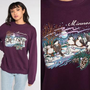 Minnesota Sweatshirt Snow Bird Shirt 80s Sweatshirt 90s Burgundy Winter Jumper Graphic Retro Pullover 1980s Sweater Jerzees Large xl l by ShopExile