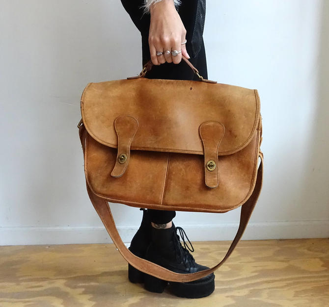 54eb9dc9c2 Vintage Coach Musette Briefcase/ Large Caramel Tan Leather Carry All ...