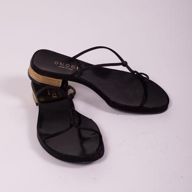 Vintage GUCCI Black Satin Knotted Sandals with Gold Chained Heels sz 7 7.8 Tom Ford Strappy Minimal by backroomclothing